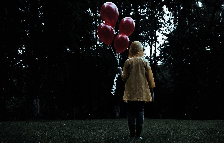 Фото обои dark, grass, forest, trees, figure, mood, sadness, feeling, person, boots, waterproof, lawn, Balloons