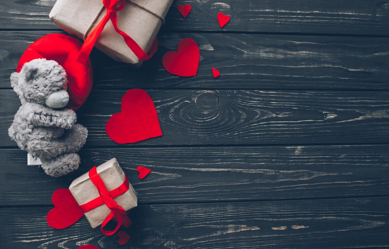 Фото обои любовь, подарок, сердце, red, love, bear, wood, romantic, hearts, teddy, Valentine's Day, gift, valentine
