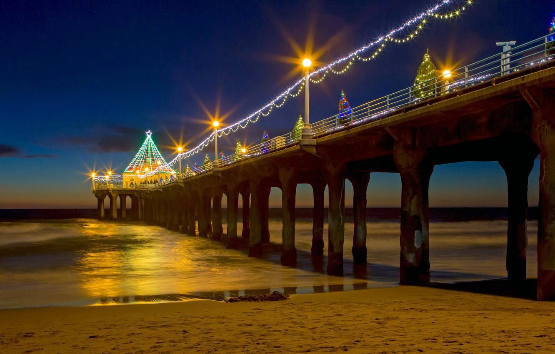 Фото обои огни, праздник, елка, Рождество, Калифорния, пирс, США, Манхэттен-Бич