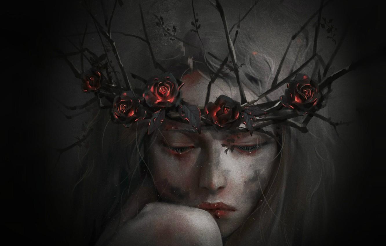 Фото обои девушка, цветы, готика, розы, венок