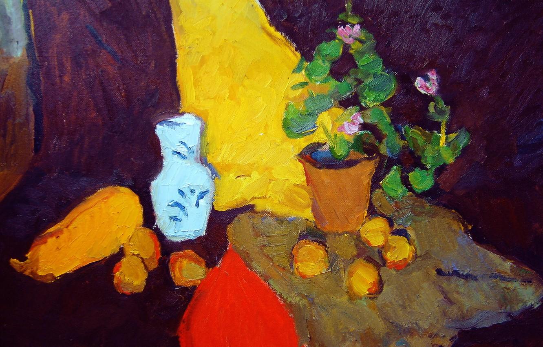 Фото обои 2006, ваза, натюрморт, фиолетовые цветы, Петяев, жёлтый кабачок