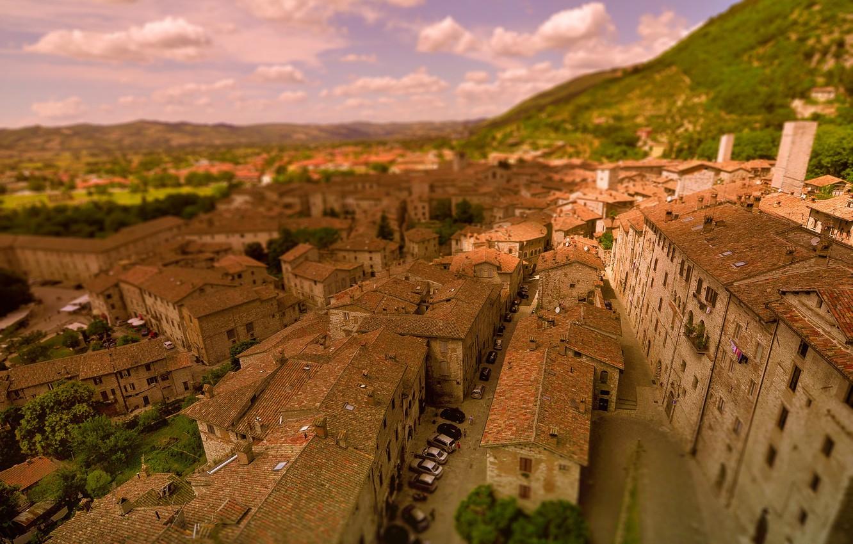 Фото обои Дома, Панорама, Крыши, Италия, Здания, Italy, Размытость, Italia, Panorama, Gubbio, Губбио