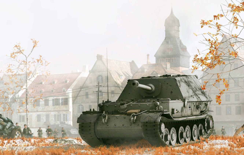 Фото обои осень, арт, солдаты, пушка, строения, САУ, вторая мировая война, вермахт, Ferdinand, убийца танков