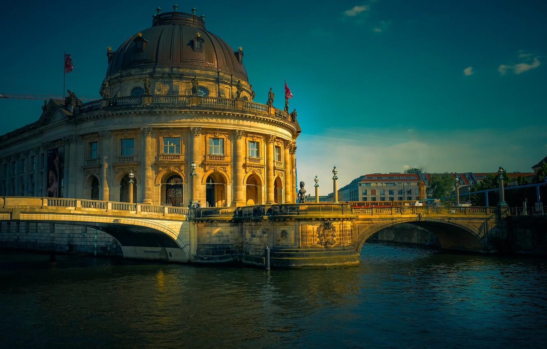 Фото обои река, здание, Германия, архитектура, мосты, Germany, Берлин, Berlin, Музей Боде, река Шпрее, Bode Museum, Spree …