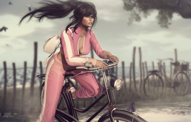 Фото обои лето, девушка, велосипед, лицо, стиль, ветер, волосы