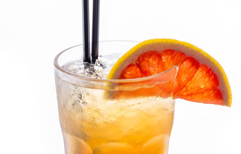 Фото обои стакан, лёд, долька, коктейль, трубочка, напиток, грейпфрут, лимонад