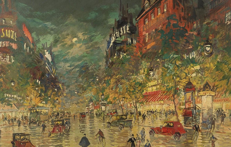 Обои улица, городской пейзаж, автомобиль, Париж Ночью, дома, Константин Коровин, люди, картина. Разное foto 6