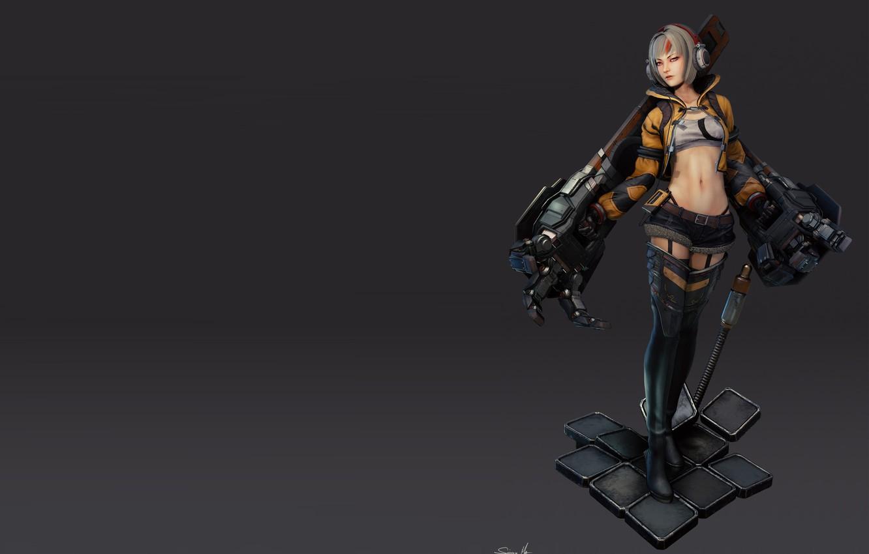 Фото обои Concept, Girl with robo arms - model, Saimon Ma