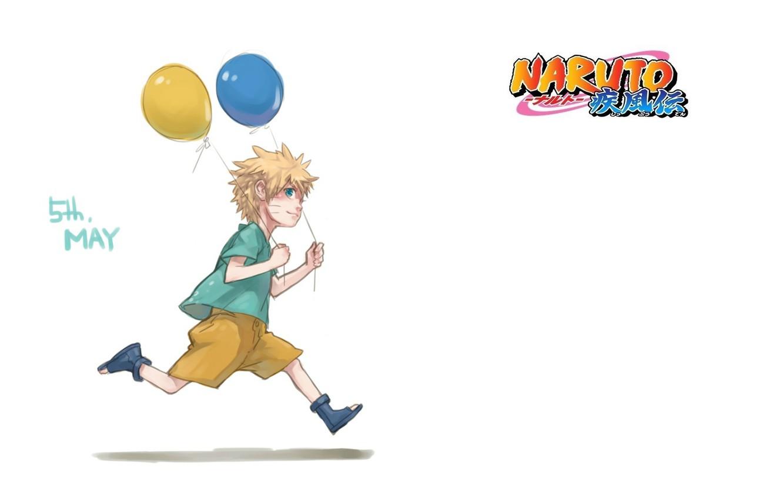 Фото обои воздушные шары, шорты, мальчик, белый фон, Naruto, бежит, Naruto Uzumaki