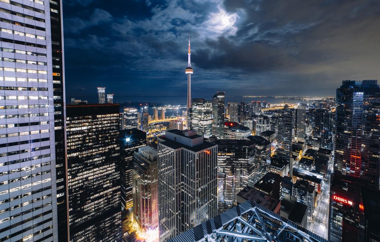 Фото обои свет, ночь, город, огни, луна, Канада, Торонто