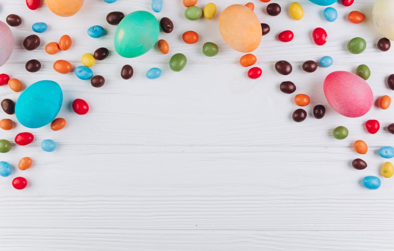 Фото обои яйца, colorful, конфеты, Пасха, wood, spring, Easter, eggs, sweets, candy, decoration, Happy