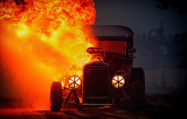 Фото обои огонь, пламя, Hot Rod