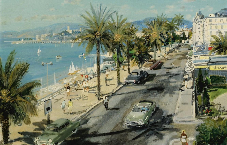 Фото обои море, улица, дома, картина, автомобиль, городской пейзаж, Габриел Дешан, Gabriel Deschamps, Английская Набережная. Ницца
