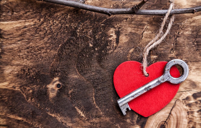 Фото обои любовь, романтика, сердце, ключ, red, love, heart, wood, key, romantic