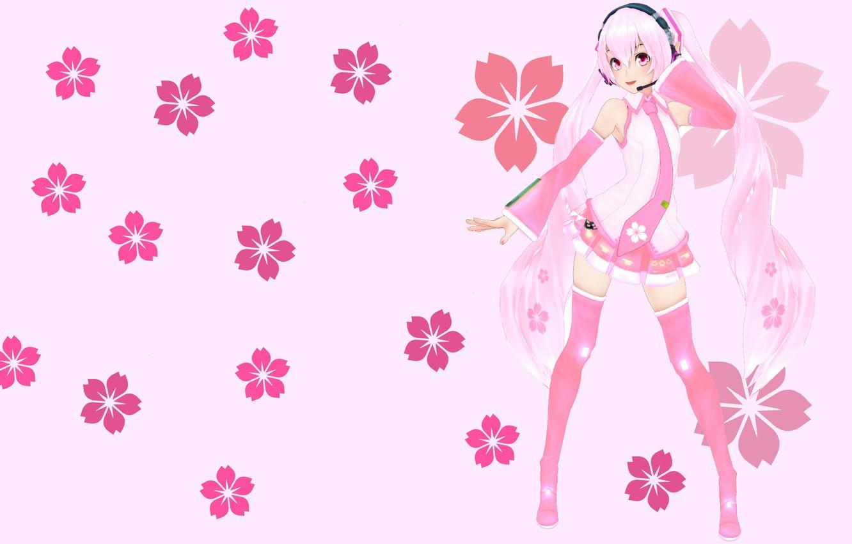 Фото обои цветы, аниме, арт, девочка, вокалоид, Мику, KasokuSato Sakura Miku