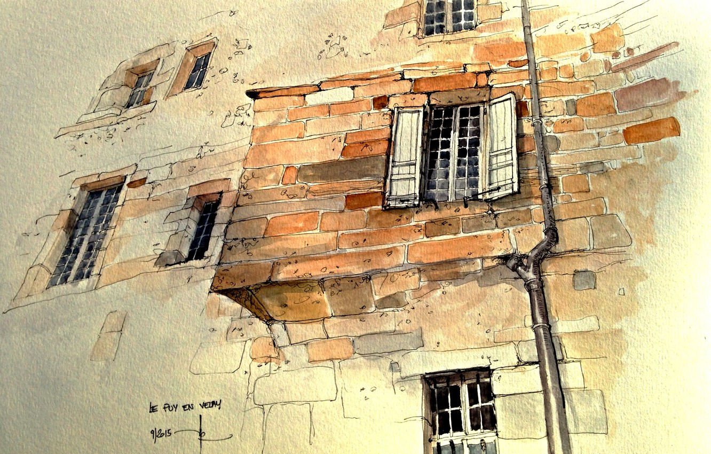 Фото обои город, дом, рисунок