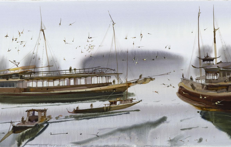 Фото обои птицы, Утро, панорама, Ты в Каюте., Аруш Воцмуш -