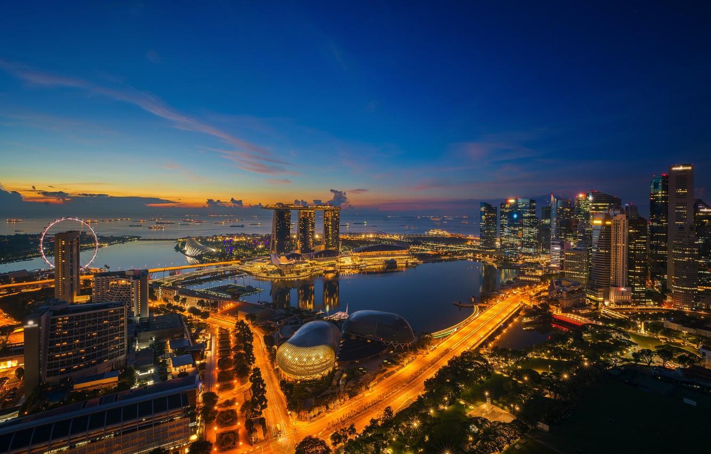 Фото обои ночь, lights, огни, небоскребы, Сингапур, архитектура, мегаполис, blue, night, fountains