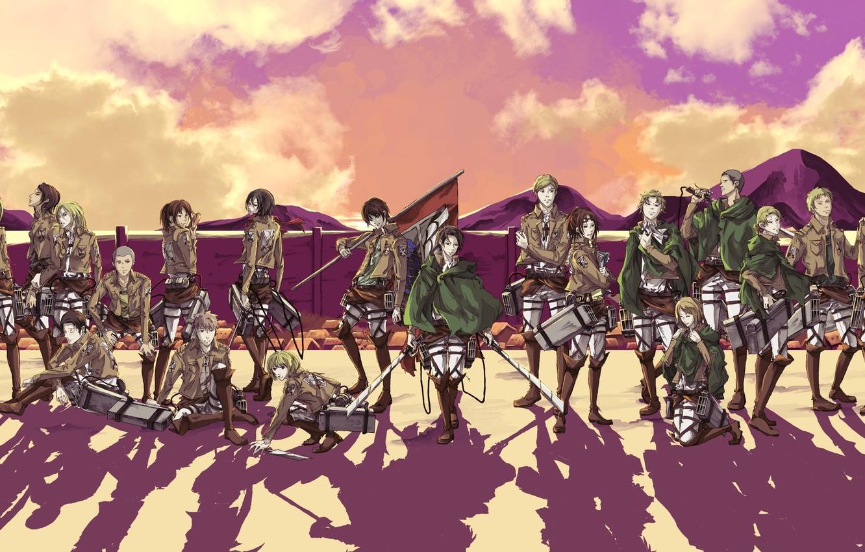 Фото обои небо, стена, тень, сапоги, эмблема, клинки, военная форма, знамя, розовые облака, Mikasa Ackerman, Вторжение Титанов, …