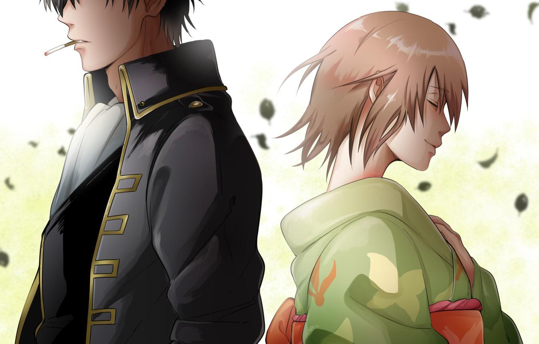Фото обои девушка, аниме, арт, парень, двое, Gintama, Hijikata Toushirou, Okita Mitsuba