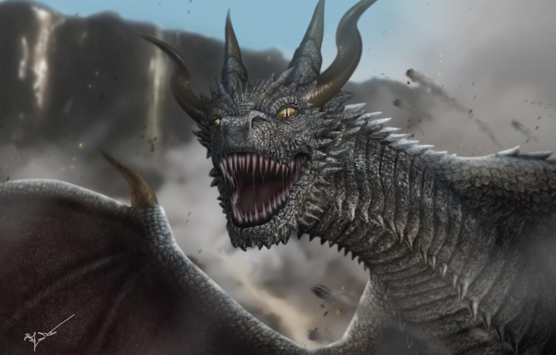 Фото обои взгляд, дракон, крылья, клыки, рога, чудовище