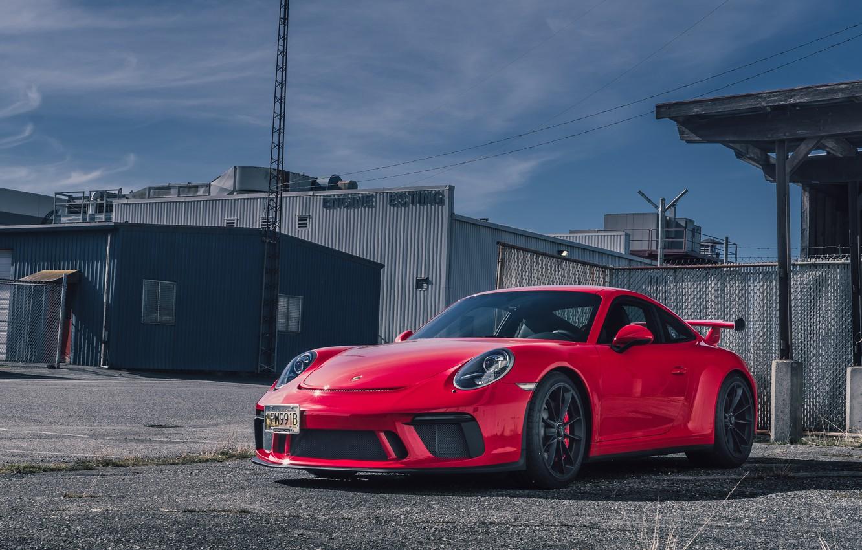 Фото обои Porsche, red, GT3