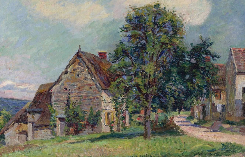 Фото обои пейзаж, дома, картина, деревня, Арман Гийомен, Armand Guillaumin, The Village of Damiette