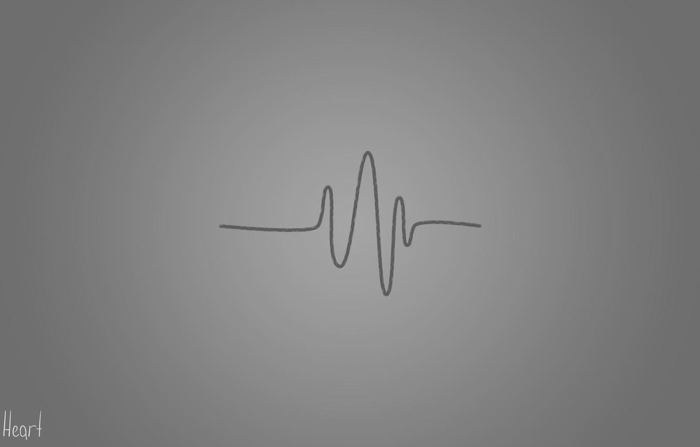 Фото обои серый, Сердце, линия, Heart, сердцебиение