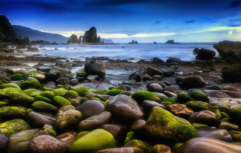 Фото обои море, пейзаж, камни, мох, Природа