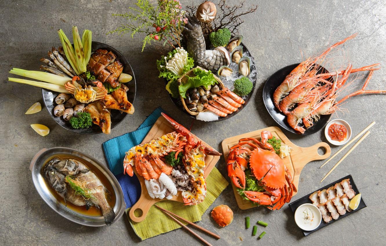 Фото обои краб, рыба, креветки, морепродукты
