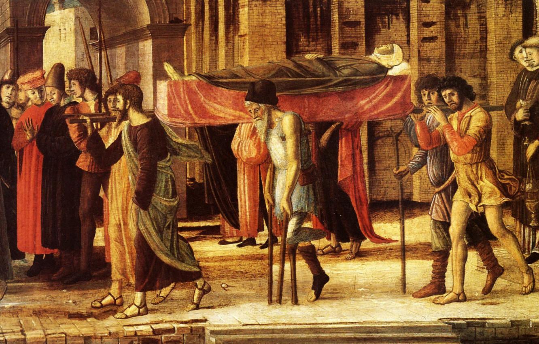 Фото обои Munich, Giovanni Bellini, 1455, peinture sur bois, L'Évangéliste 2, Trois Histoires de Drusienne et de …