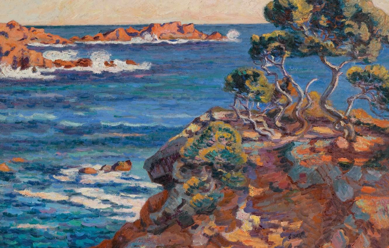 Фото обои море, пейзаж, скалы, картина, Арман Гийомен, Armand Guillaumin, Морское Побережье в Аге