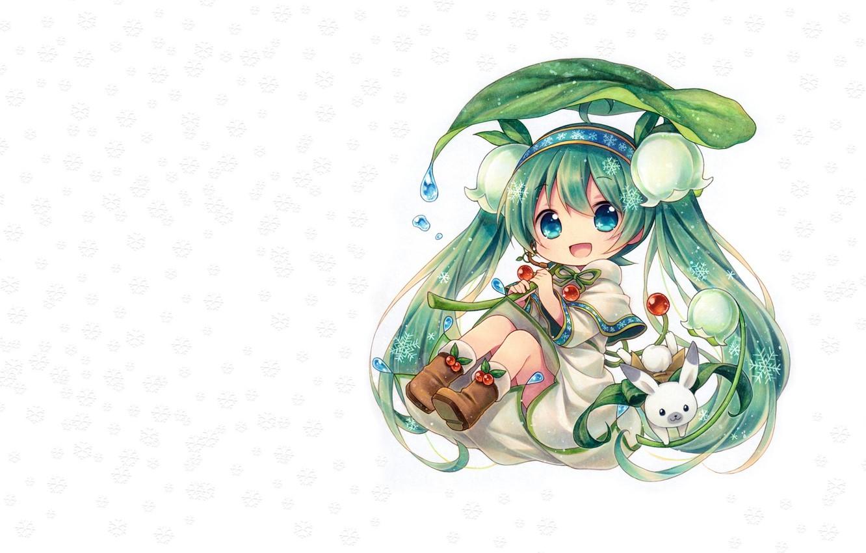 Фото обои девушка, цветы, снежинки, весна, аниме, арт, чиби, зайчик, вокалоид, ландыш, Мику, Spring Miku, vocaloid.