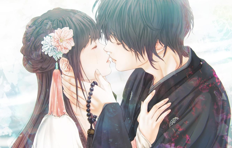 Фото обои девушка, романтика, аниме, пара, парень