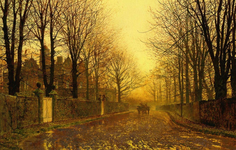 Обои улица, Джон Эткинсон Гримшоу, Пейзаж, John Atkinson Grimshaw, осенний вечер, картина. Разное foto 6