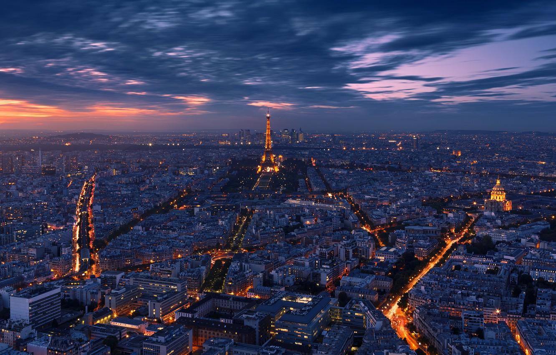 Фото обои свет, ночь, город, огни, Франция, Париж, вечер