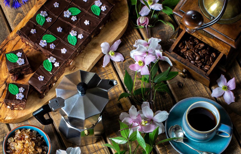 Фото обои цветы, кофе, пирог, сахар, клематис, кофемолка, кофейник