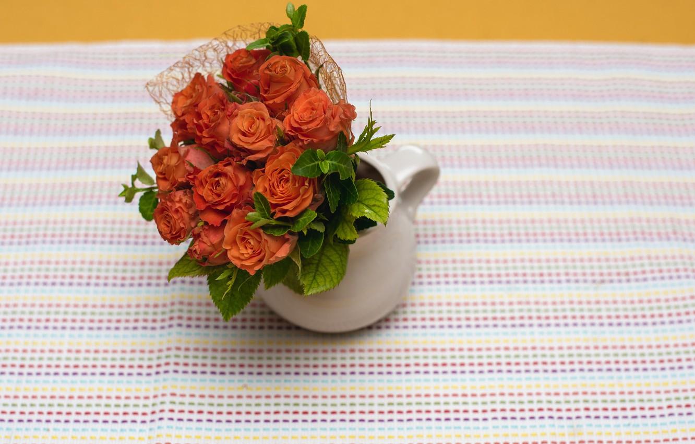 Фото обои розы, букет, ваза