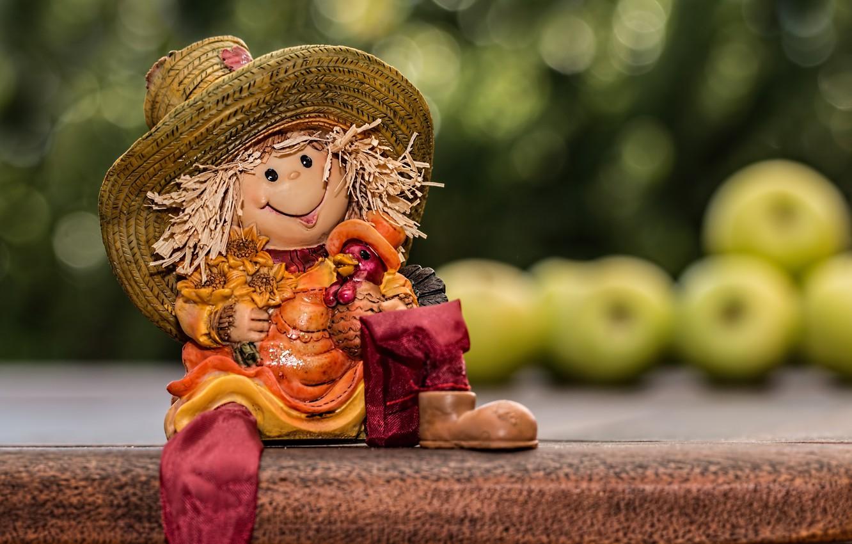 Фото обои яблоки, игрушка, кукла, полка