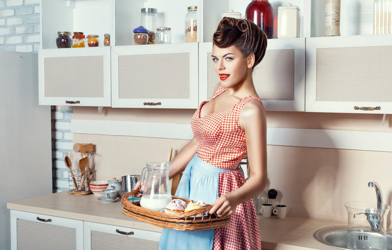 Фото обои девушка, еда, завтрак, кухня