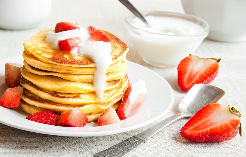 Фото обои клубника, блины, pancakes, сметана