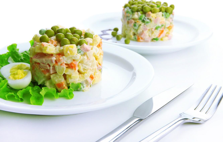 Фото обои зелень, овощи, салат, оливье