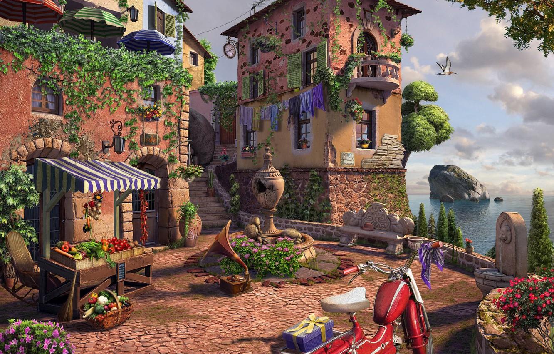 Фото обои рендеринг, арт, городок, Square, дворик, andrew krivulya