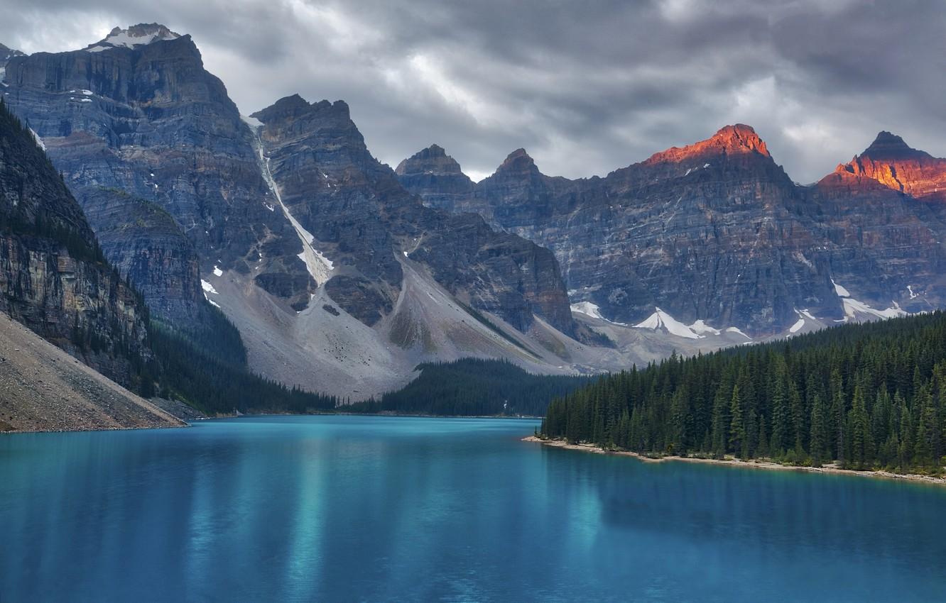Фото обои деревья, горы, река, ель