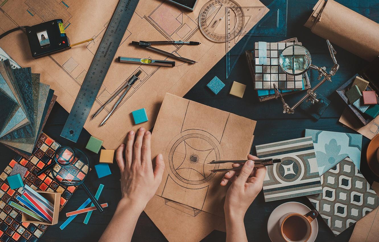 Фото обои design, leather, hand, creativity, illustrations, designer, sketches, Compas