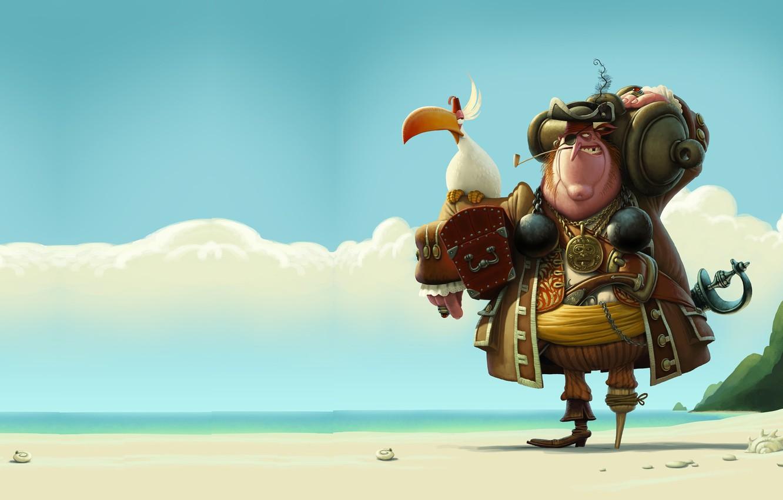 Фото обои арт, пират, попугай, Джон Сильвер, Denis Zilber