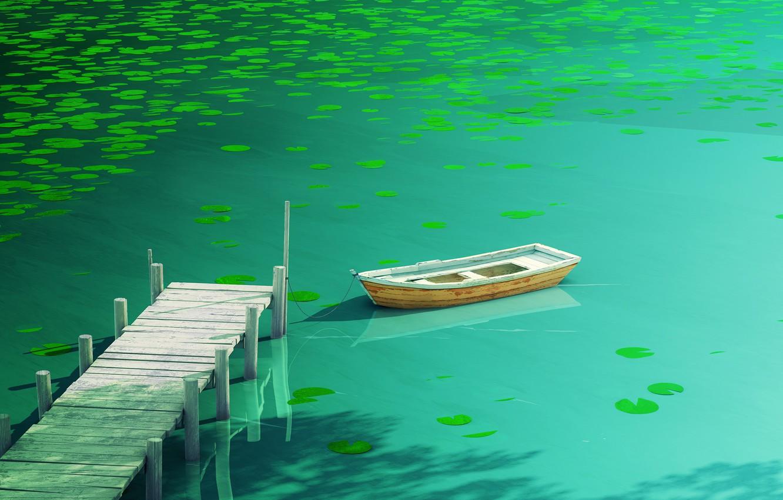 Фото обои вода, свет, отражение, green, лодка, темный, доски, растение, светлый, причал, кувшинка, dark, light, water, кувшинки