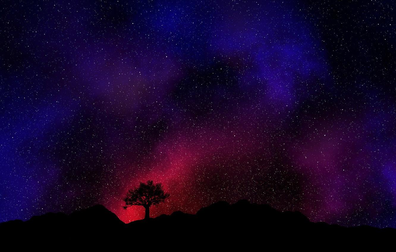 Фото обои dark, red, black, Space, Galaxy