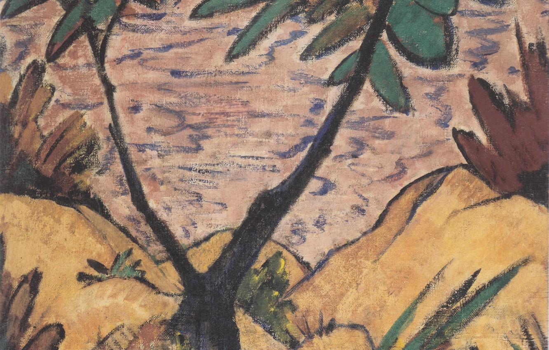 Фото обои Landschaft, Экспрессионизм, Otto Mueller, ca 1920, mit gegabeltem Baum