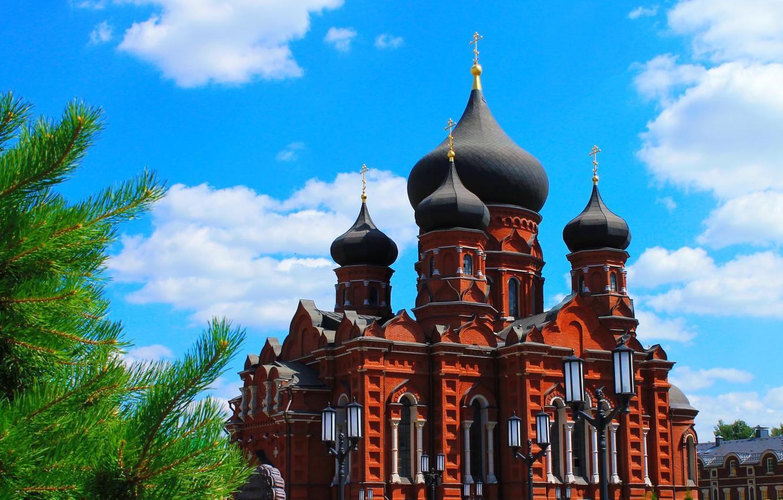 Фото обои город, Россия, купола, Тула, Успенский собор, центр Тулы, Русские просторы
